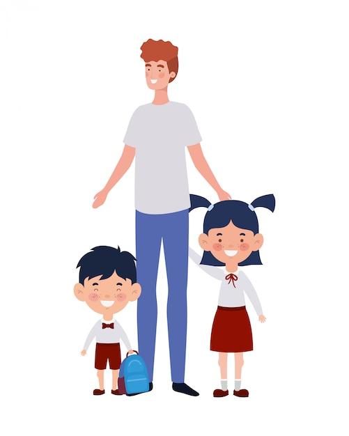 Homem, com, crianças, de, costas escola Vetor Premium