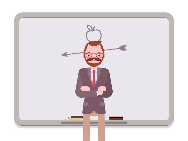 Homem, com, desenhado, maçã, e, seta Vetor Premium