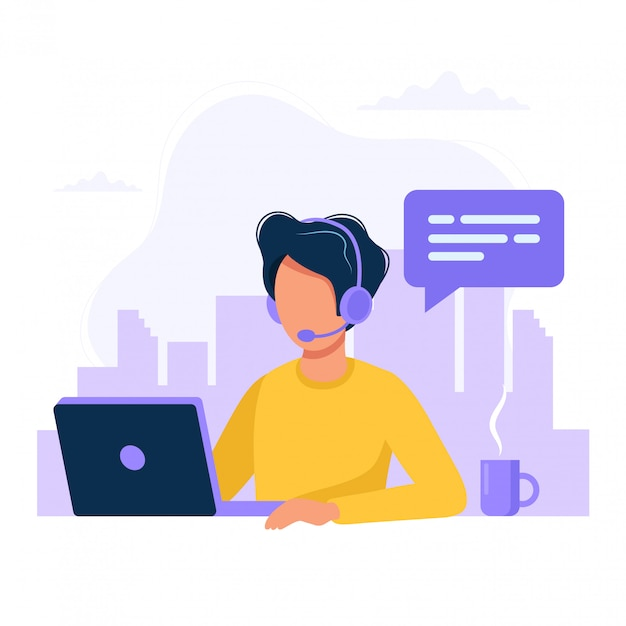 Homem, com, fones ouvido, e, microfone, com, computador Vetor Premium