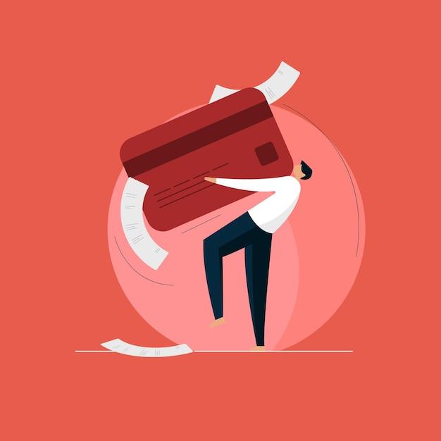 Homem com forte dívida de fatura de cartão de crédito Vetor Premium