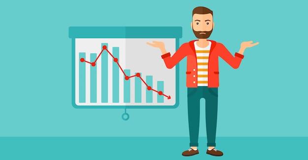 Homem com gráfico decrescente. Vetor Premium