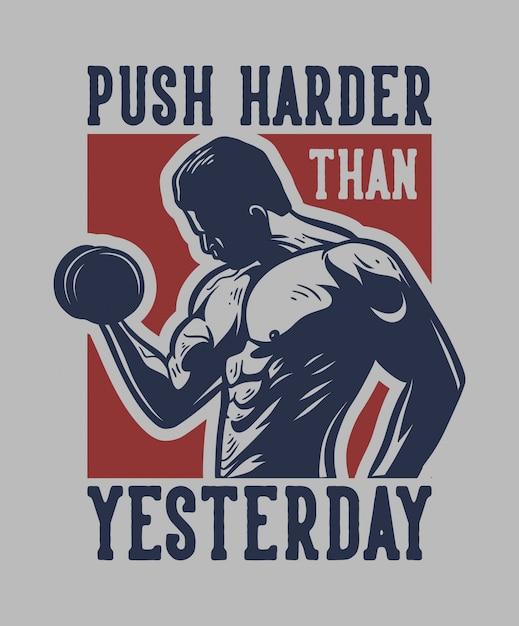 Homem com halteres mostra seu músculo para cartaz de slogan de citação de motivação Vetor Premium