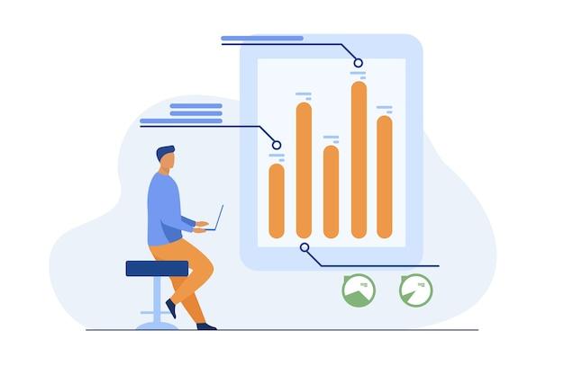 Homem com laptop analisando infográficos. diagrama, gráfico de barras, ilustração vetorial plana do relatório. análise, marketing, gerente de projeto Vetor grátis