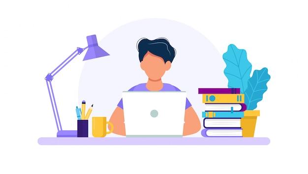 Homem com laptop, estudando ou trabalhando o conceito. Vetor Premium