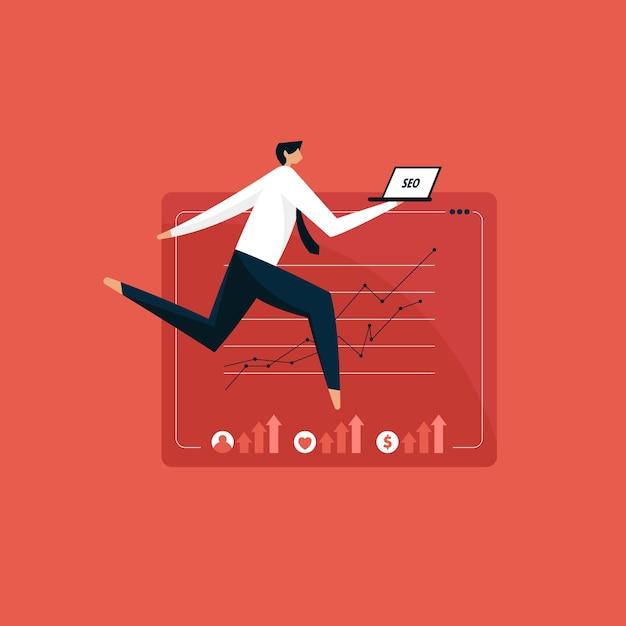 Homem com laptop fazendo marketing de seo, conceito de otimização de mecanismo de pesquisa Vetor Premium