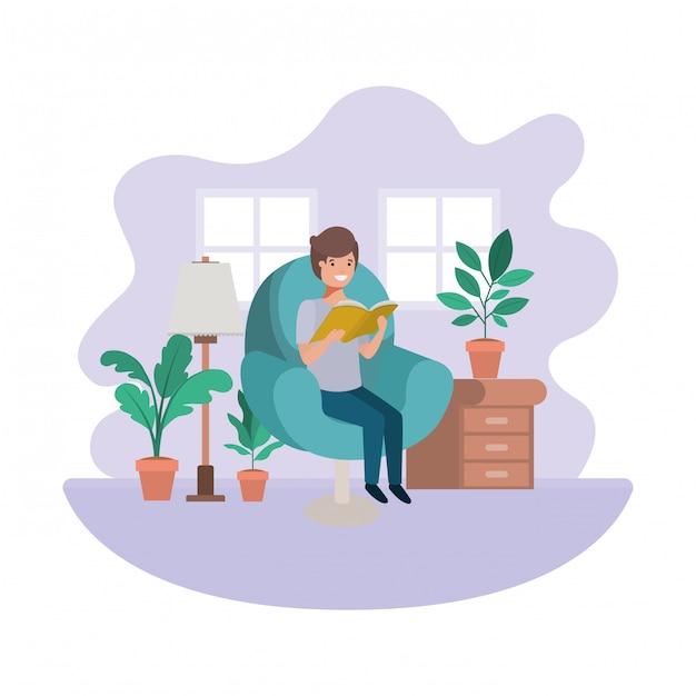 Homem, com, livro, em, livingroom, avatar, personagem Vetor Premium