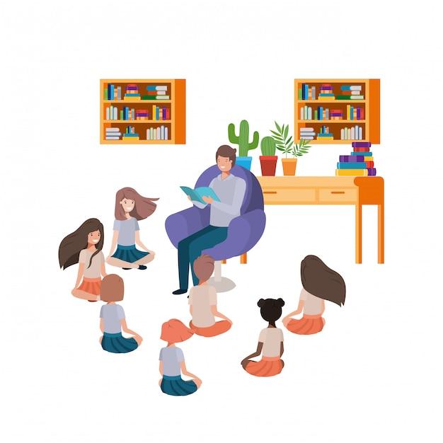 Homem, com, livro leitura, em, a, sofá, e, crianças Vetor grátis