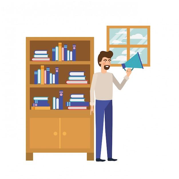 Homem, com, madeira, shelving, ligado, branca, ícone Vetor Premium
