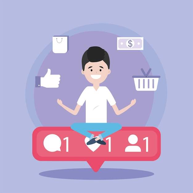 Homem com mensagem de bate-papo de mídia social Vetor Premium