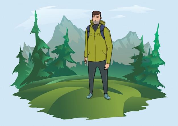 Homem com mochila no fundo da paisagem montanhosa. turismo de montanha, caminhadas, recreação ativa ao ar livre. ilustração. Vetor Premium