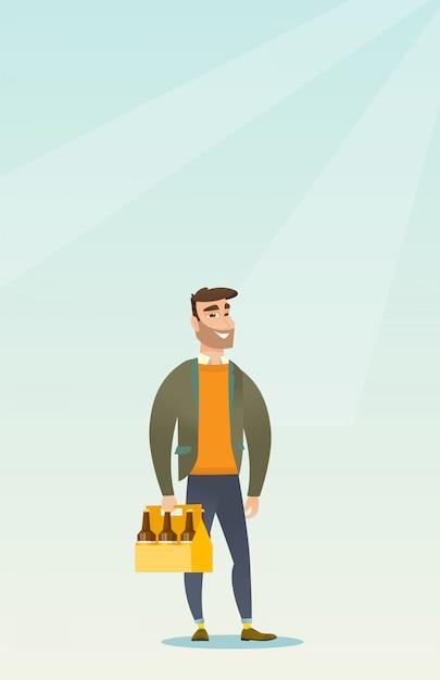Homem, com, pacote cerveja Vetor Premium