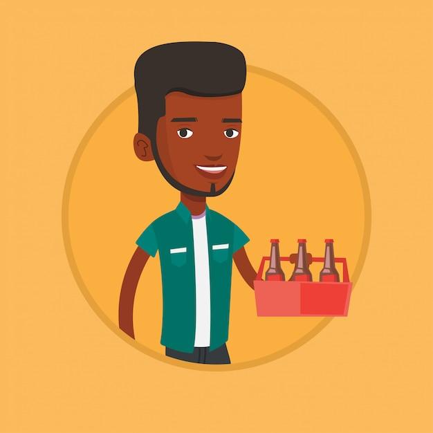 Homem com pacote de ilustração vetorial de cerveja. Vetor Premium
