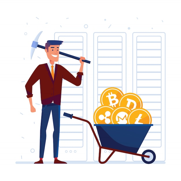 Homem, com, picareta, e, carrinho mão, cheio, de, crypto, moedas Vetor Premium