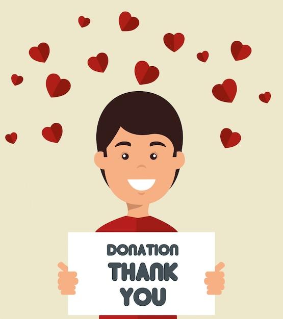 Homem com placa para doação de caridade Vetor grátis