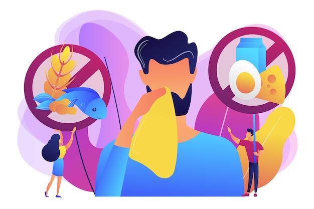 Homem com sintomas de alergia alimentar a produtos como peixes, leite e ovos. alergia alimentar, ingrediente de alérgeno alimentar, conceito de fator de risco de alergia. ilustração isolada violeta vibrante brilhante Vetor grátis