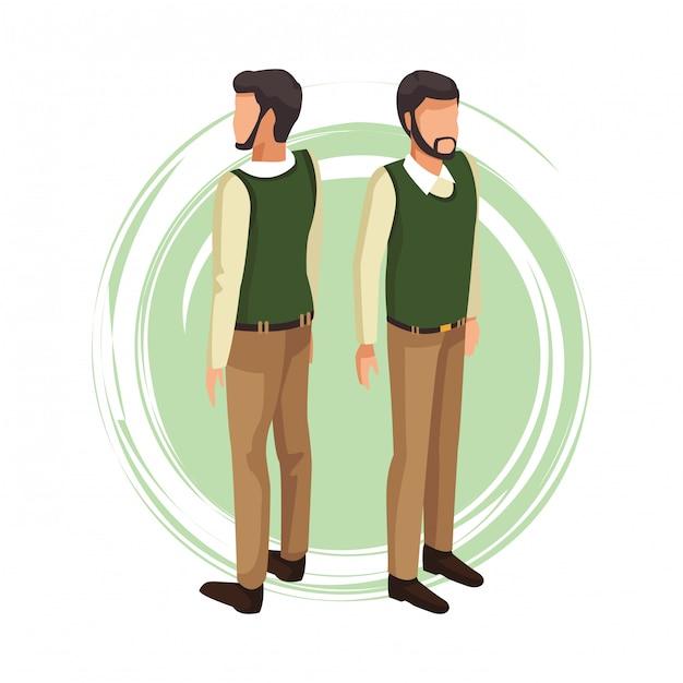 Homem, com, suéter, avatar Vetor Premium