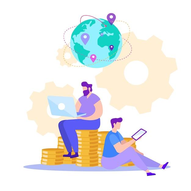 Homem com tablet e laptop. ganhando online. Vetor Premium