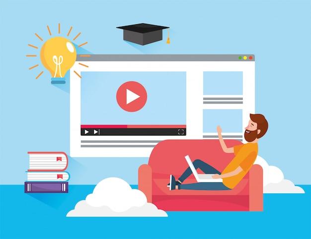 Homem com tecnologia de laptop e vídeo do site Vetor Premium