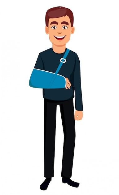 Homem, com, um, braço quebrado Vetor Premium