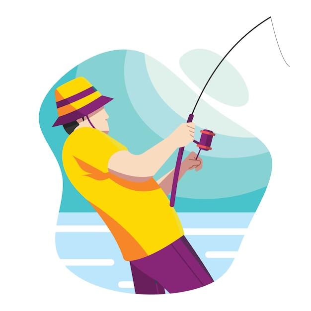 Homem, com, um, cana de pesca Vetor Premium