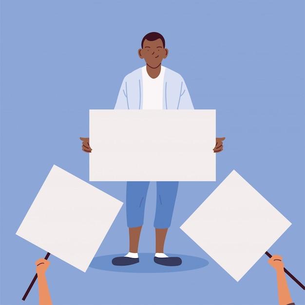 Homem com um cartaz em branco branco, símbolo de protesto Vetor Premium