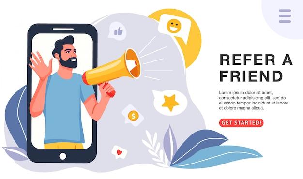 Homem com um megafone convida seus amigos para o programa de referência. Vetor Premium