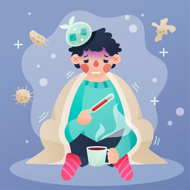 Homem com um resfriado segurando um termômetro e bebendo chá Vetor grátis