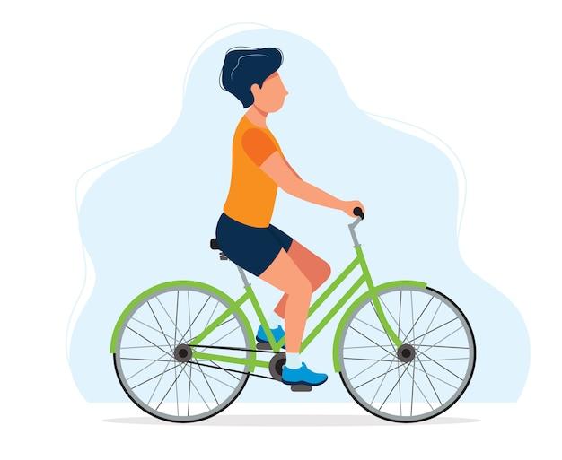 Homem com uma bicicleta, ilustração do conceito de estilo de vida saudável, esporte Vetor Premium