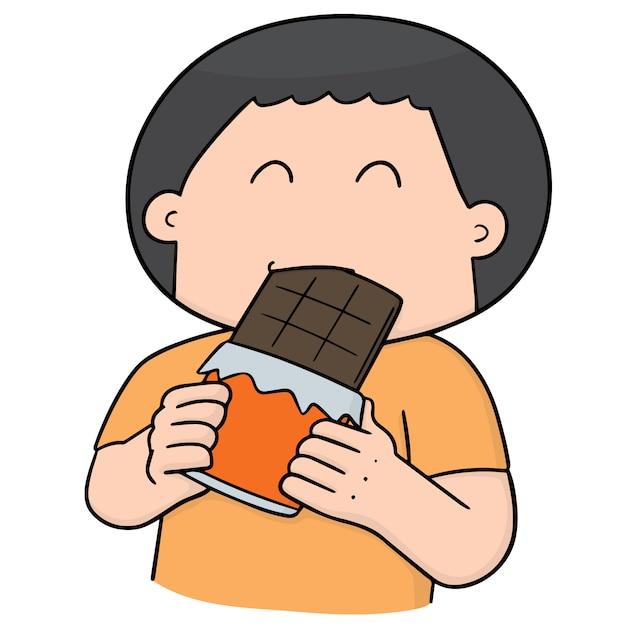 Homem comendo chocolate Vetor Premium