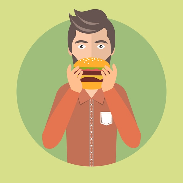 Homem comendo hambúrguer Vetor grátis