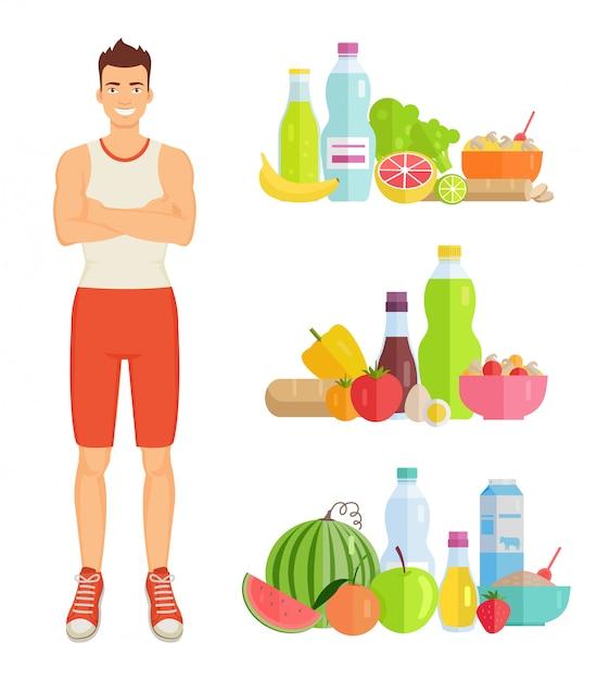 Homem, comer, alimento saudável, jogo Vetor Premium