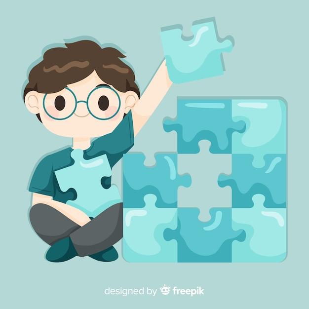 Homem, conectando, quebra-cabeça, pedaços, fundo Vetor grátis