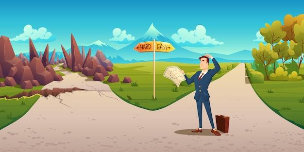 Homem confuso com mapa faz a escolha entre maneira difícil e fácil. paisagem dos desenhos animados com o empresário na estrada com sinal de direção, caminho cheio de curvas com pedras e estrada reta simples Vetor grátis