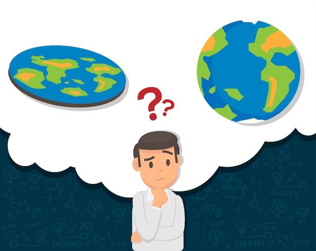 Homem confuso sobre teoria de terra plano ou globo Vetor Premium