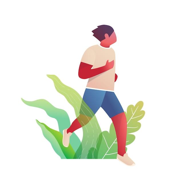 Homem correndo em design plano de natureza Vetor Premium