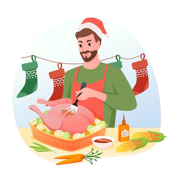Homem cozinha peru tradicional de natal para o jantar, férias de inverno em casa Vetor Premium