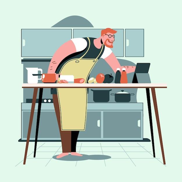 Homem cozinhando uma nova receita da internet Vetor grátis