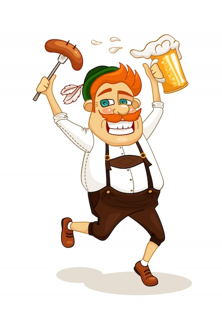 Homem da festa da cerveja Vetor grátis