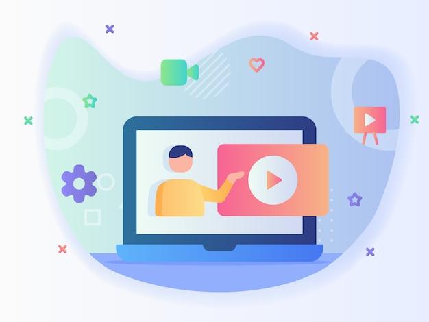 Homem dá vídeo tutorial online em vídeo-curso de tutoria de conceito de tela de laptop com estilo simples. Vetor Premium