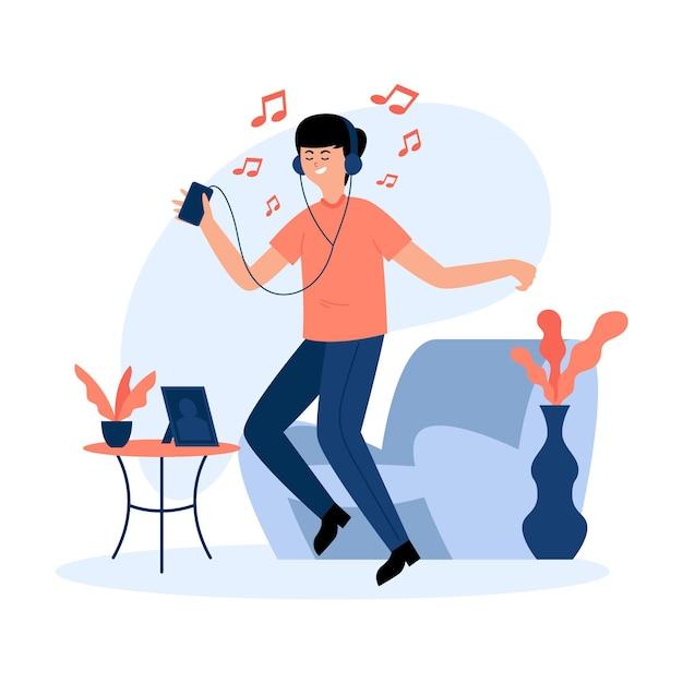 Homem dançando e ouvindo música Vetor Premium