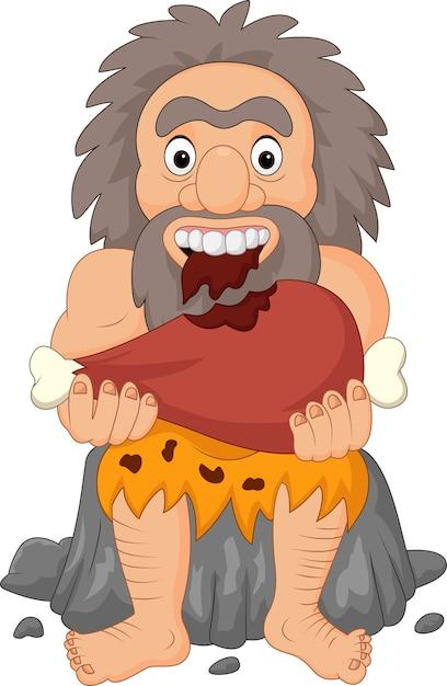 Homem das cavernas dos desenhos animados comendo carne Vetor Premium
