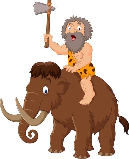 Homem das cavernas montando um mamute Vetor Premium