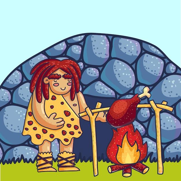 Homem Das Cavernas Que Cozinha A Carne Na Ilustracao Dos Desenhos