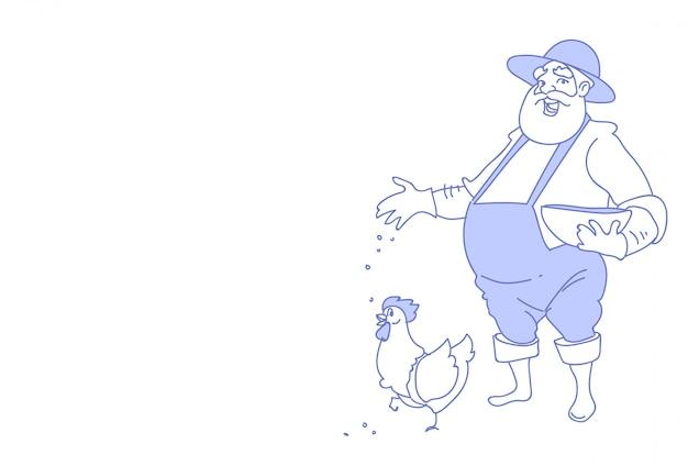 Homem de agricultor alimenta galinha de criação de galinha para esboço de fazenda de alimentos doodle horizontal Vetor Premium