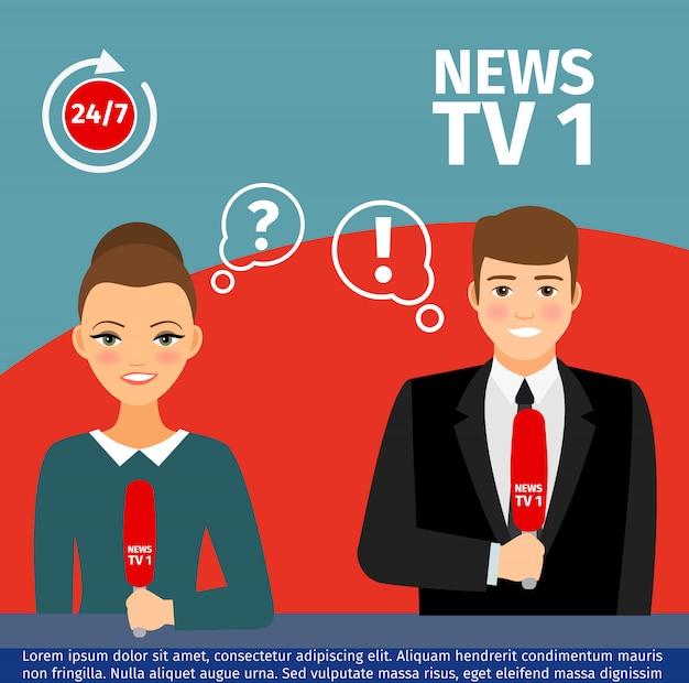 Homem de âncora de notícias e mulher Vetor Premium