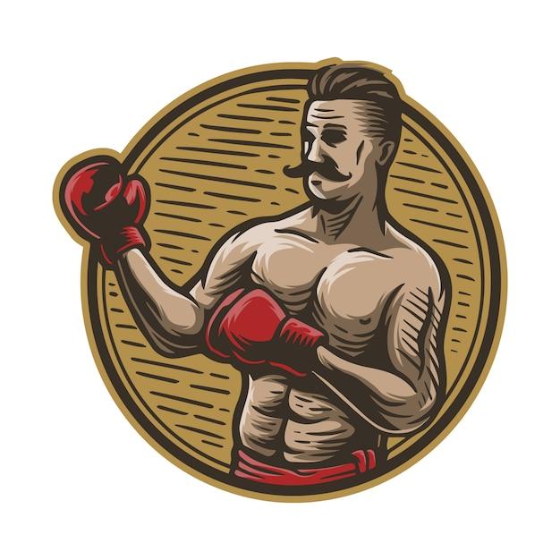 Homem de boxe desenhado à mão vintage Vetor Premium