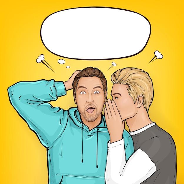 Homem de cabelo loiro pop art sussurra sobre vendas ou segredos ao ouvido do cara marrom surpreso com capuz. Vetor grátis