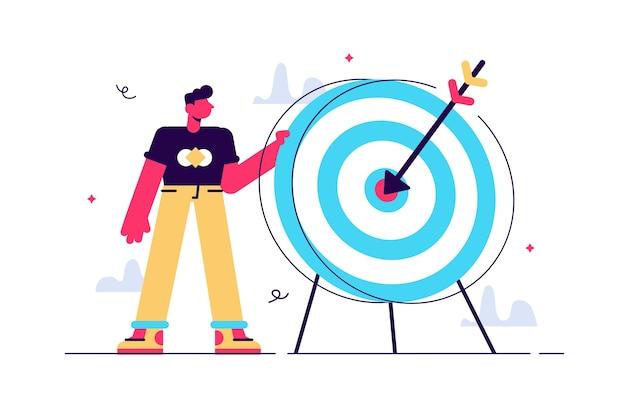 Homem de desenho animado segurando um alvo de dardos com acerto direto no alvo Vetor Premium