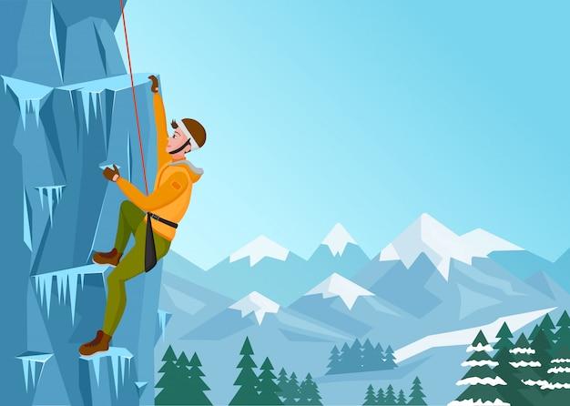 Homem de escalada. macho na rocha de gelo. esportes radicais ao ar livre no inverno. ilustração vetorial Vetor Premium