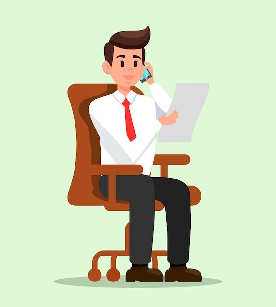 Homem de escritório falando no telefone ilustração plana Vetor Premium